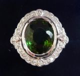 Gorgeous art deco 18ct 18k white gold 3.5ct tourmaline and diamond cluster vintage antique ring